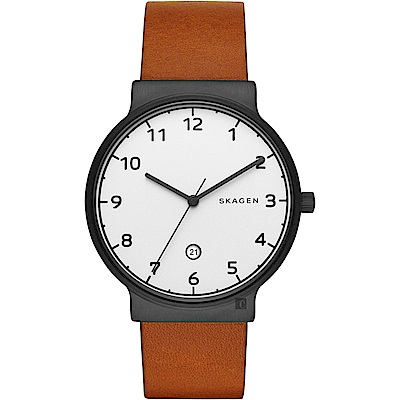 SKAGEN 北歐時尚石英手錶(SKW6297)-白x咖啡/40mm