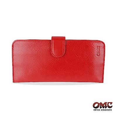 OMC 原皮系列-植鞣牛皮舌片壓扣14卡透明窗雙隔層零錢長夾-紅色