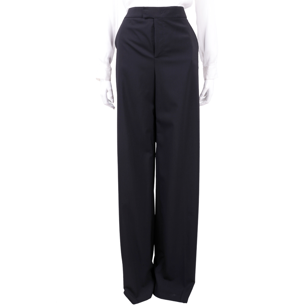 RED VALENTINO 黑色素面羊毛落地西裝長褲(98%WOOL)