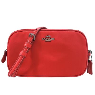 COACH 馬車輕型尼龍雙拉鍊小斜背包(紅)