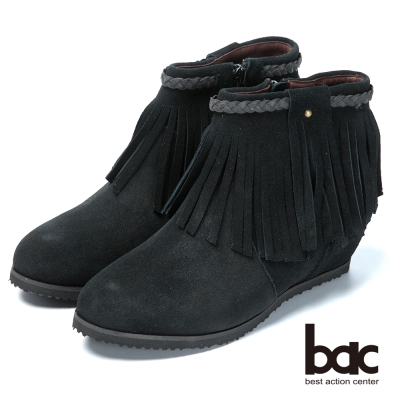 bac摩登好萊塢 時尚流蘇平底短靴-黑色