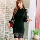 縷空蕾絲包臀窄裙洋裝(黑色)-Kugi Girl product thumbnail 1
