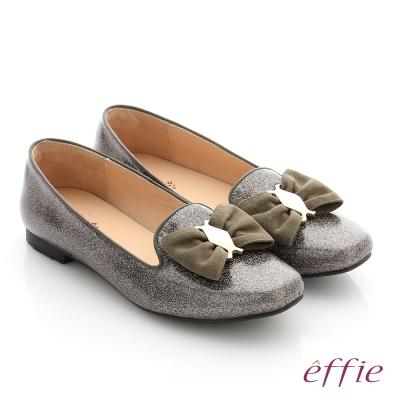 effie 個性美型 真皮蝴蝶結飾釦奈米平底鞋 墨綠色