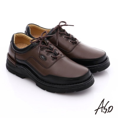 A.S.O 抗震雙核心 真皮彈力綁帶奈米休閒鞋 咖啡色