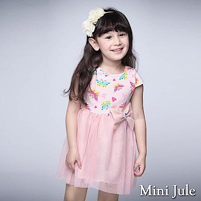 Mini Jule 童裝-洋裝 配色蝴蝶網紗短袖洋裝(粉)