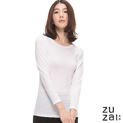 zuzai 自在親膚長袖保暖衣女入門款-白色