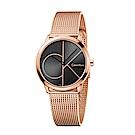 CK CALVIN KLEIN Minimal 系列cK Logo 鍍PVD玫瑰金手錶-35mm