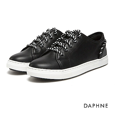 達芙妮DAPHNE 休閒鞋-編織繫帶拼接素色休閒鞋-黑