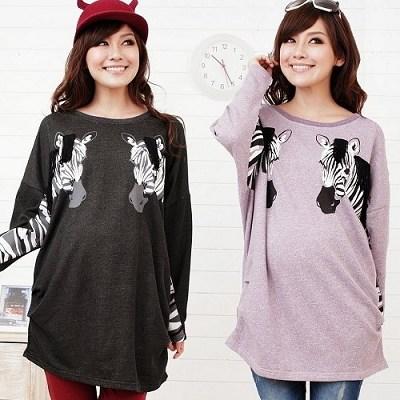 Keep-Chic孕婦裝-特色斑馬款動物上衣-共二色