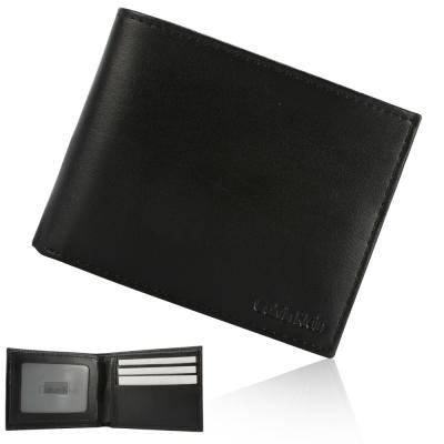 Calvin Klein 細緻皮革多卡短夾禮盒-黑色