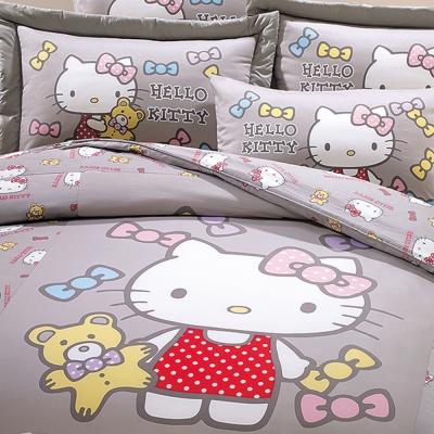 鴻宇 抗菌 Hello Kitty 哈尼小熊 灰-單人三件式兩用被床包組