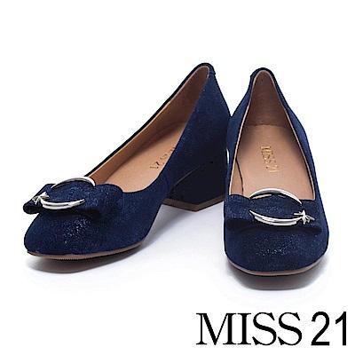 跟鞋 MISS 21 甜美寬帶造型飾釦羊麂皮低跟鞋-藍