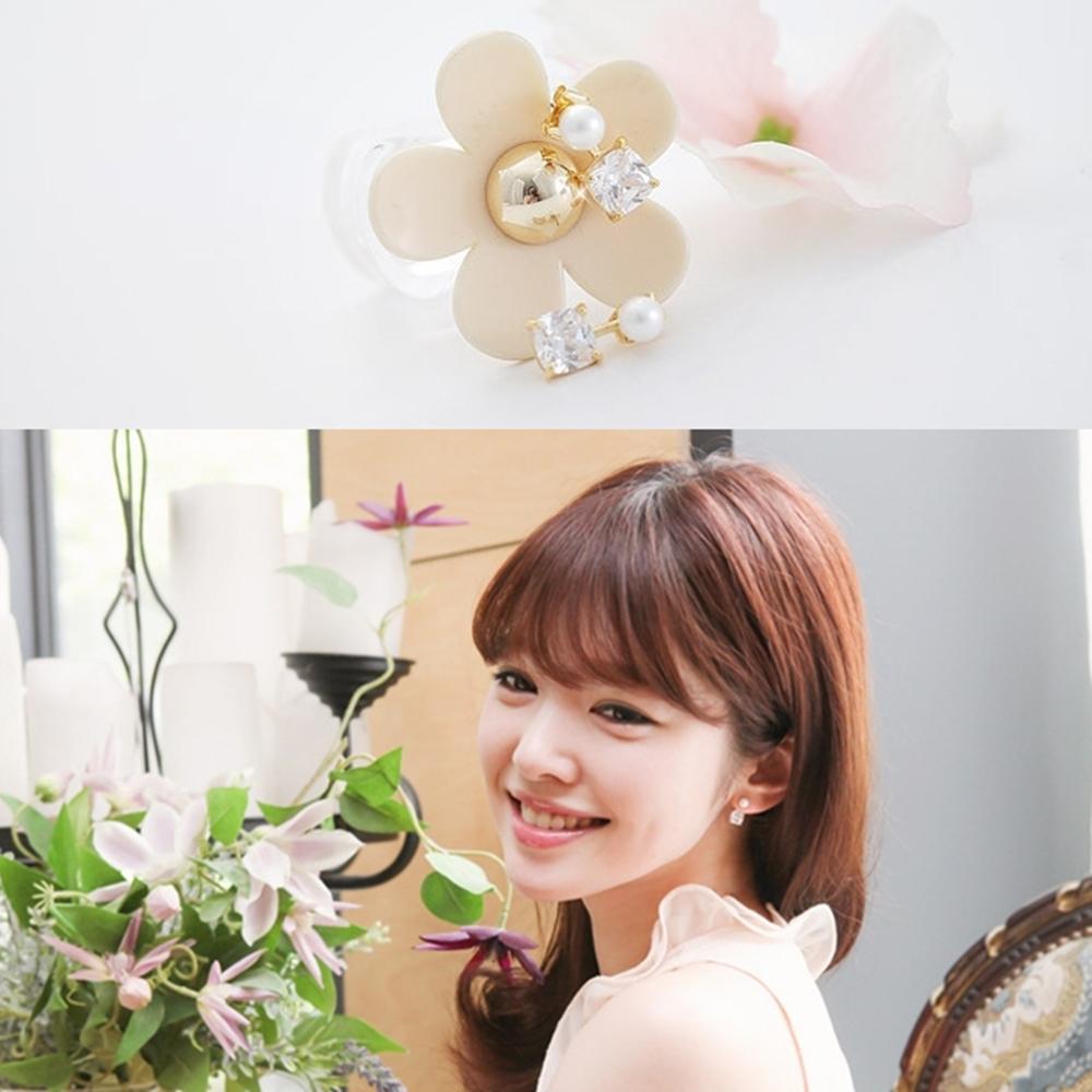 梨花HaNA 無耳洞韓國鍍真金上下方鑽珍珠耳環