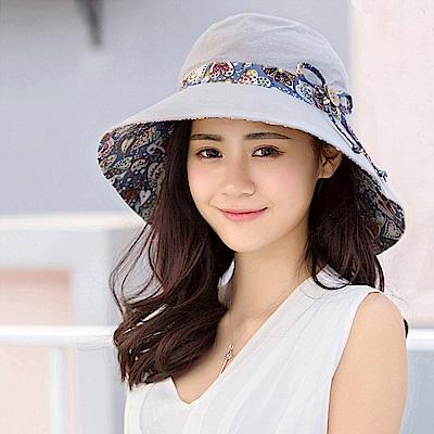 幸福揚邑 愛心紋大帽檐抗UV防紫外線雙面配戴可摺疊遮陽帽-淺灰