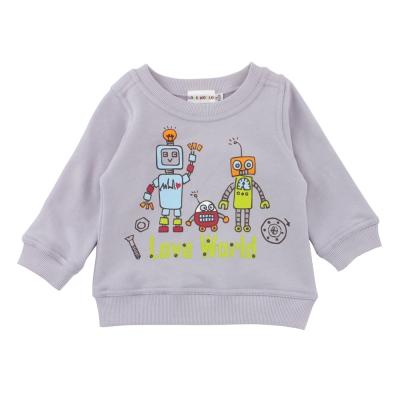 愛的世界 純棉圓領束口長袖上衣-灰/1~4歲