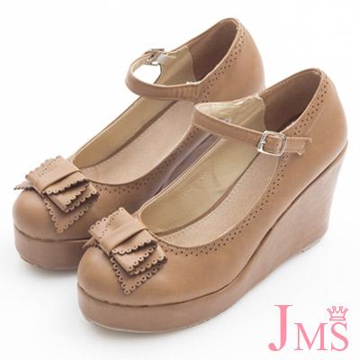 JMS-典雅氣質蝴蝶結楔型娃娃鞋-棕色