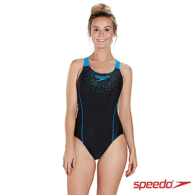 SPEEDO 女 運動連身泳裝 Gala Logo Medalist 黑藍