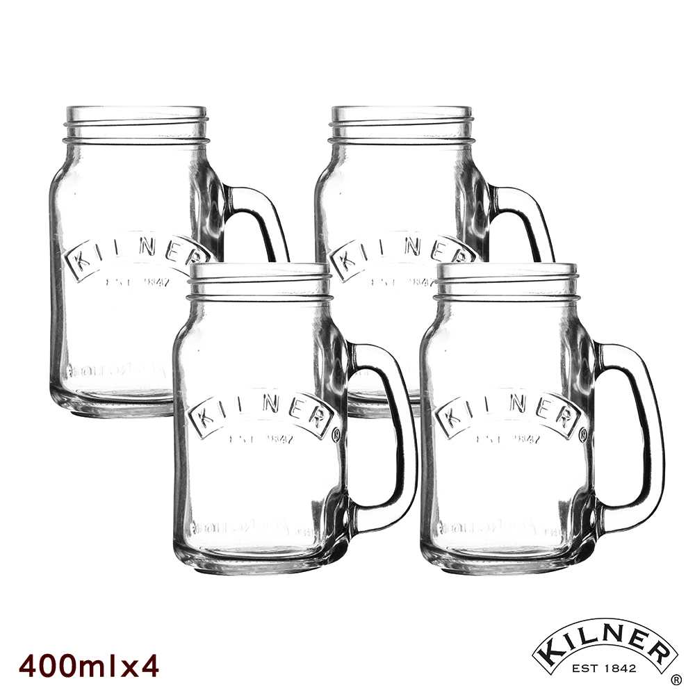 KILNER寬口玻璃把手杯飲料杯四入組400ml