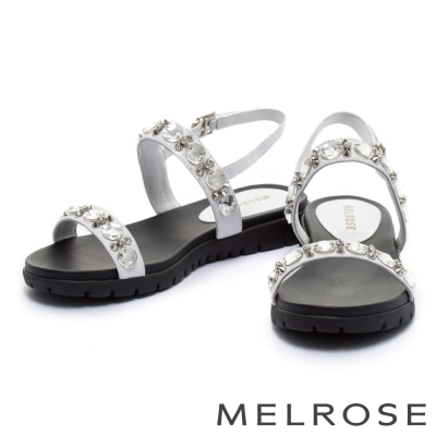 涼鞋 MELROSE 閃耀水鑽鉚釘字帶涼鞋-白