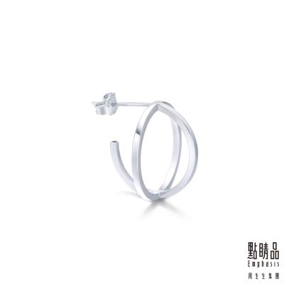 點睛品Ear Play 鉑金立體圓形耳環