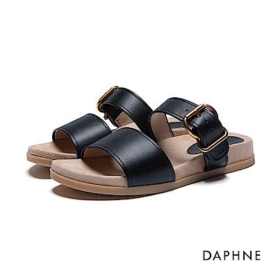 達芙妮DAPHNE 涼拖鞋-寬版雙帶平底涼拖鞋-黑