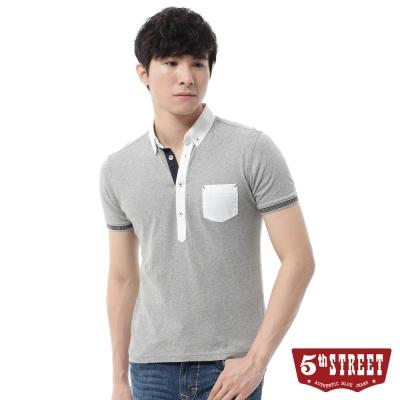 5th STREET POLO衫 素色簡約POLO衫-男-灰色