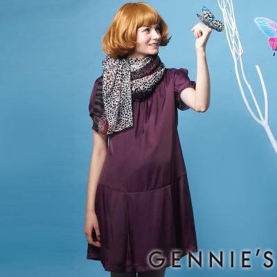 Gennies奇妮-夢幻紫絲質感飄逸洋裝(G1212)