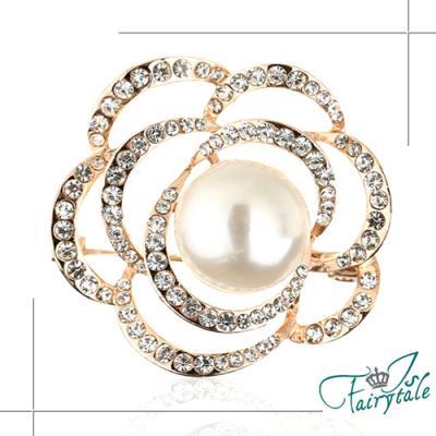iSFairytale伊飾童話 玫瑰之眼 珍珠鏤空水鑽胸針 二色可選
