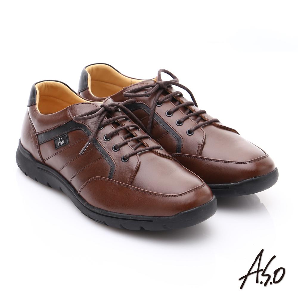 A.S.O 超能耐 牛軟皮綁帶奈米經典休閒皮鞋 咖啡色