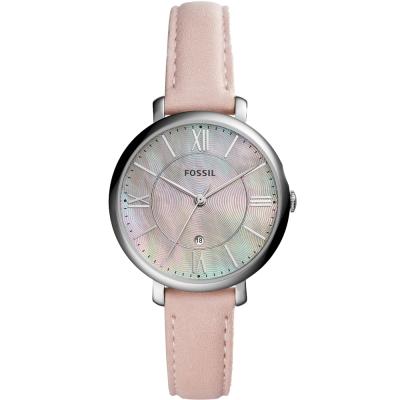 FOSSIL Jacqueline羅馬時標優雅真皮手錶-珍珠貝X粉紅/36mm