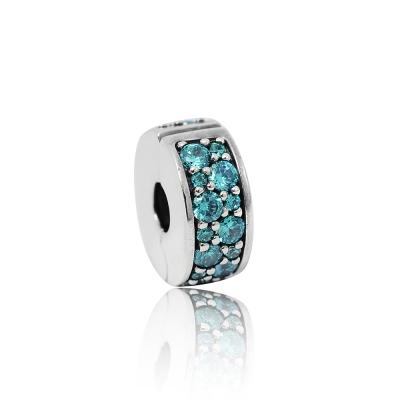 Pandora 潘朵拉 薄荷綠色鑲鋯扁狀夾扣式 純銀墜飾 串珠