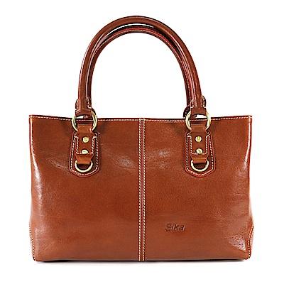 Sika義大利時尚風雅古典兩用手提包M6050-01原味褐