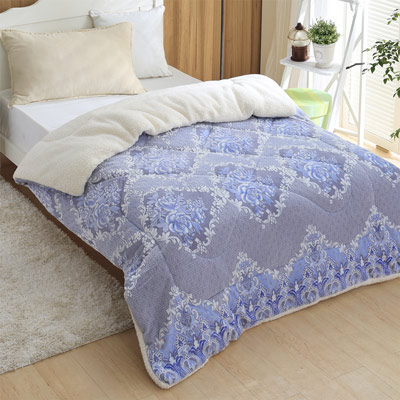 羽織美 淡藍幽雅 3D立體雕花舖棉羊羔絨毯被