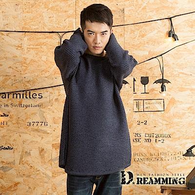 Dreamming 素面百搭壓條寬袖圓領針織毛衣-共四色