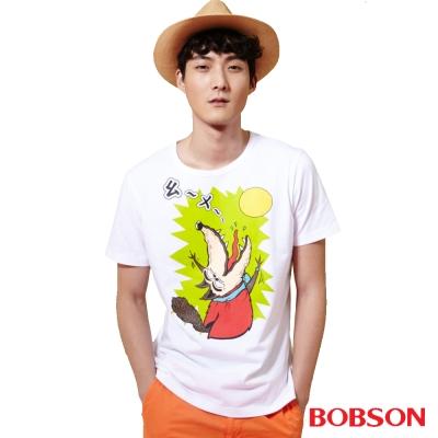 BOBSON  男款印圖上衣-白色