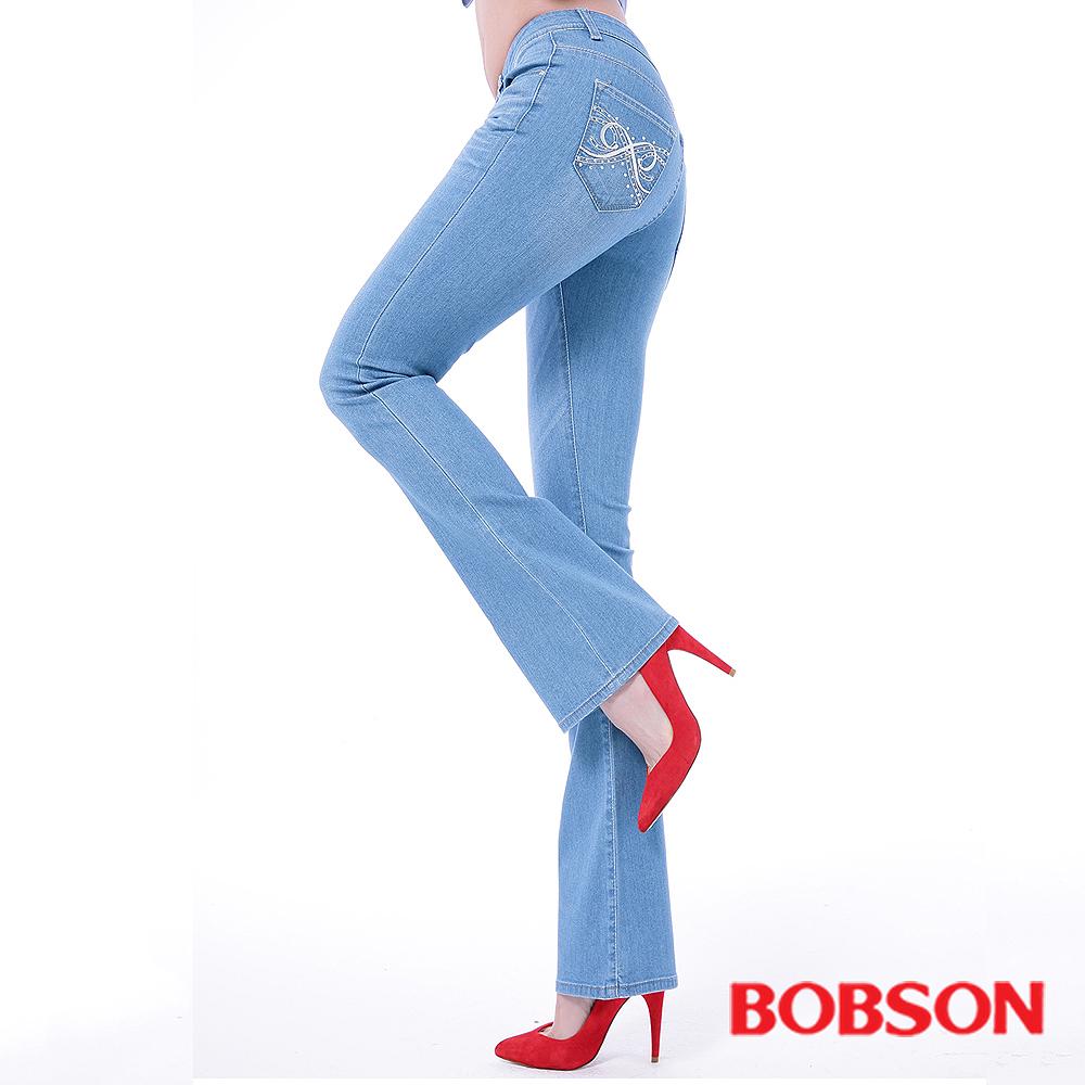 BOBSON 女款木醣醇伸縮小喇叭褲