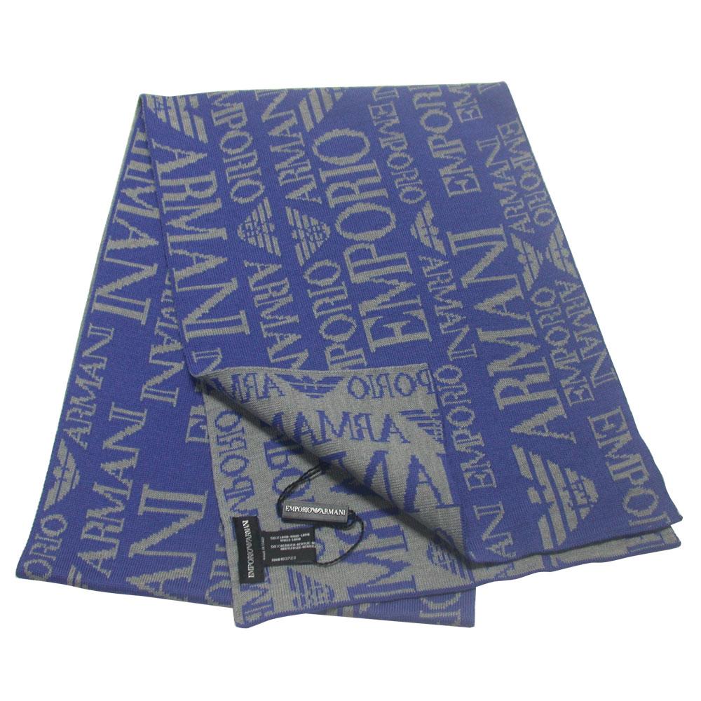 Emporio Armani 雙面織紋LOGO羊毛圍巾-藍/灰