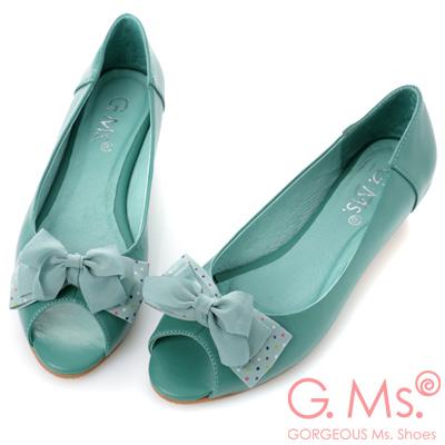 G.Ms.   魚口雪紡紗水玉雙層蝴蝶結小坡跟鞋-優雅綠