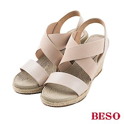 BESO清夏涼感 真皮拼接交叉鬆緊帶露趾編織楔型涼鞋~米
