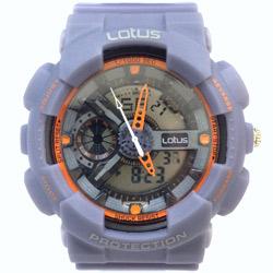Lotus 街頭潮男 計時鬧鈴雙顯運動錶(LS-1026-11)-大地灰/52mm