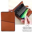 DF Queenin皮夾 - 典雅雙品味皮革款多卡零錢短夾-共3色