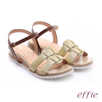 effie個性涼夏 絨面真皮圓楦羅馬小坡跟涼鞋 黃色