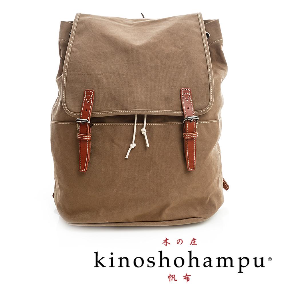 kinoshohampu 單車旅行系列 牛皮雙飾帶帆布後背包 咖
