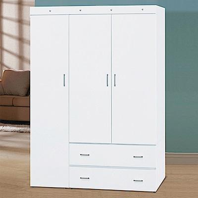 AS-尤萊亞4尺純白衣櫃-120x57x174cm