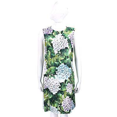 DOLCE & GABBANA Ortensia 滿版繡球花圖騰無袖絲質洋裝