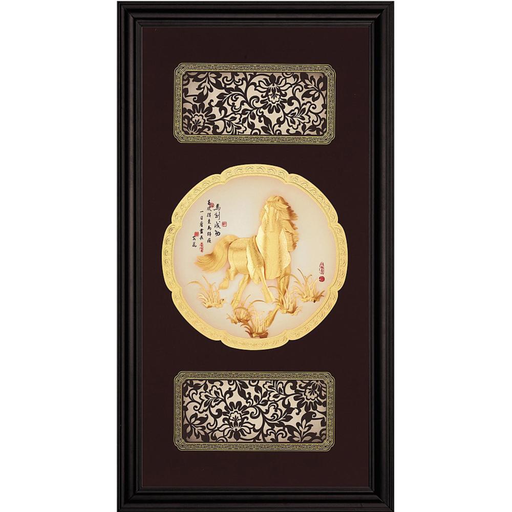開運陶源 金箔畫 黃金畫純金圓滿獎牌/匾額系列~【馬到成功】等8款可選(27x50cm)
