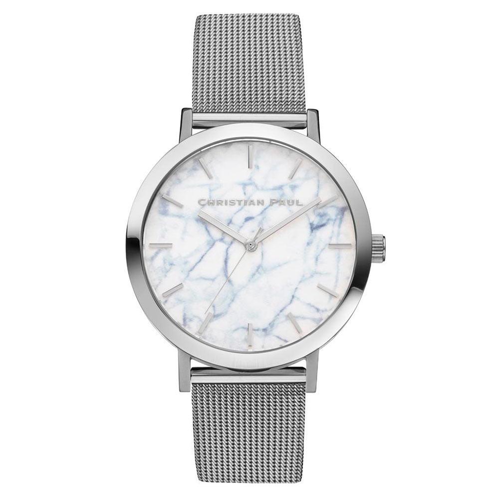 Christian Paul 大理石銀色系列 白錶盤/銀色金屬網眼錶帶手錶43mm