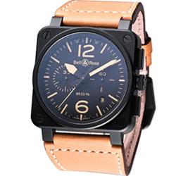 Bell & Ross 飛鷹戰士自動計時機械腕錶-鍍黑x駝色錶帶/42mm