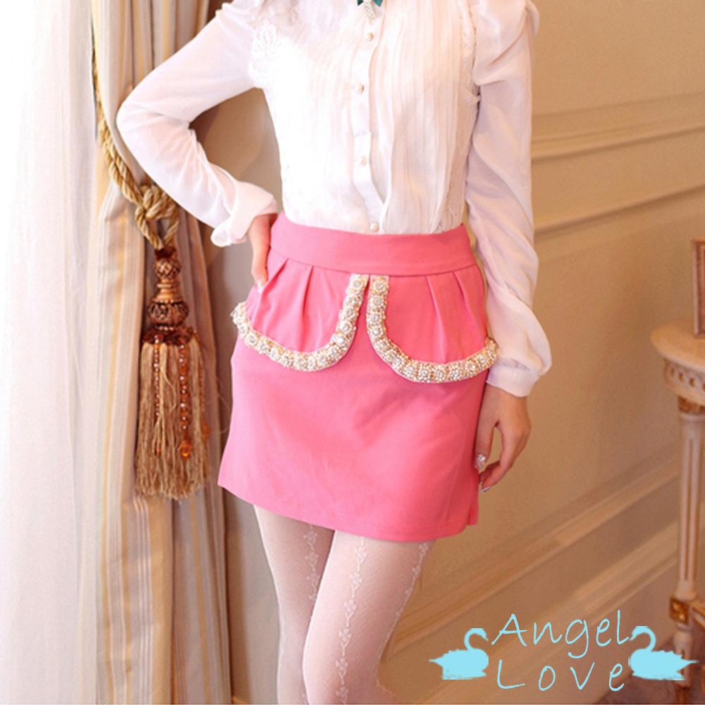 Angel Love 華麗水鑽滾邊層次俏麗短裙 (粉色)