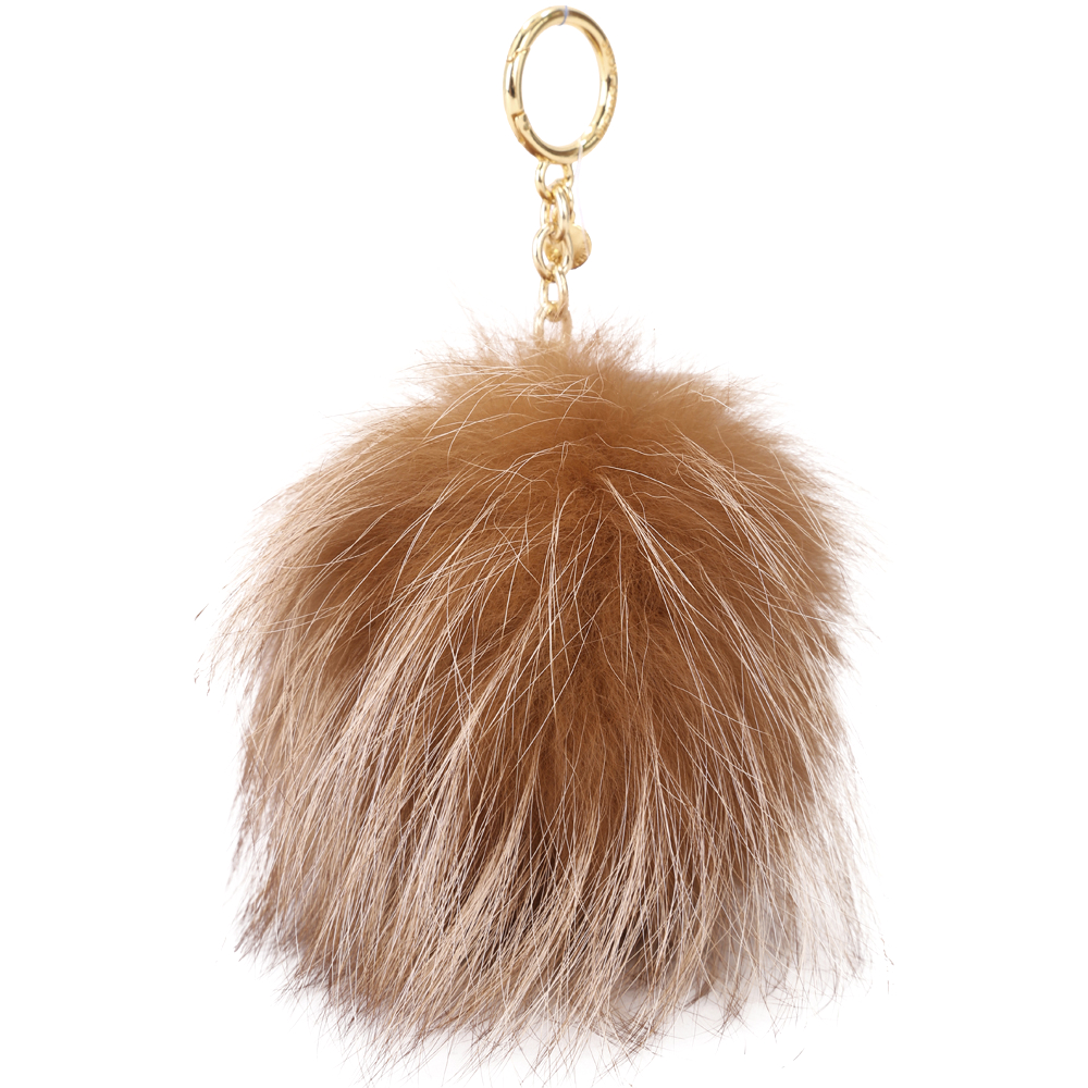 Michael Kors Fur Pom Pom 毛球吊飾/鑰匙圈(大/棕色)